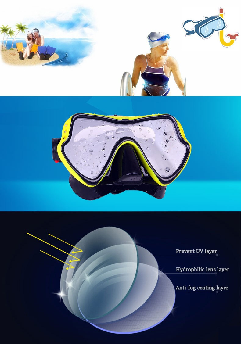 IPRee Summer Diving Goggles Tempered Glass Anti-UV Anti Fog Silicone Water Snorkeling Swimming Glasses