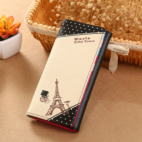 Women Effiel Tower Long Wallet Girls Hasp Dot Purse Card Holder Coin Bags