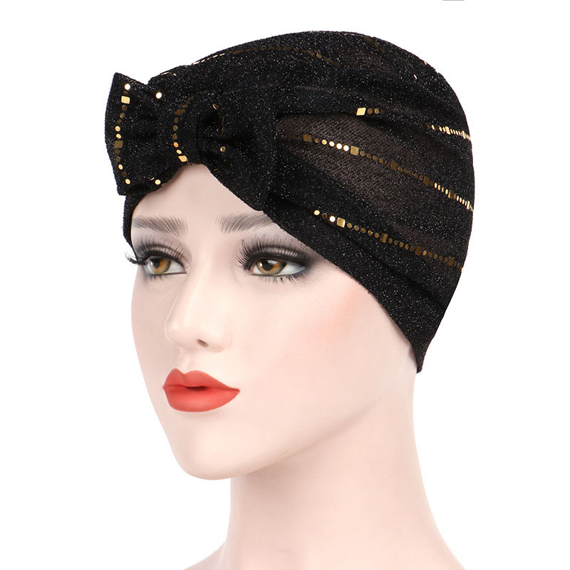 Women Muslin Studded Breathable Beanie Hat Turban Caps