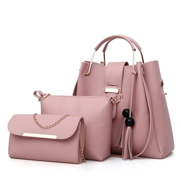 Women Faux Leather Three-piece Set Tassel Handbag