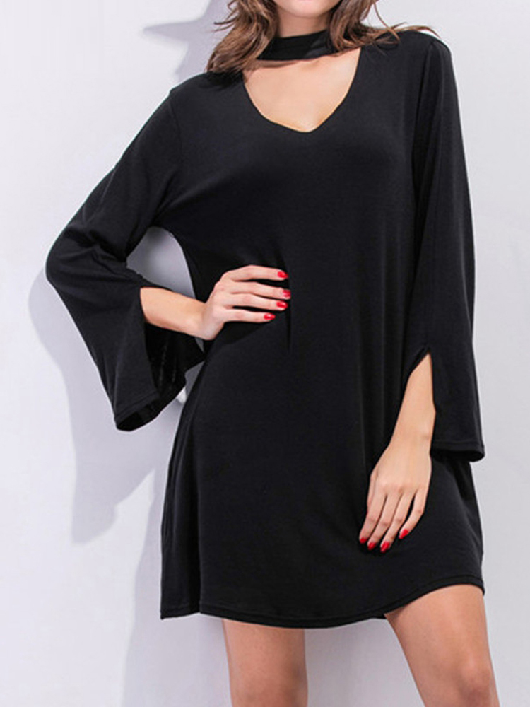 Sexy Women Solid Color Long Sleeve Fork Mini Dress