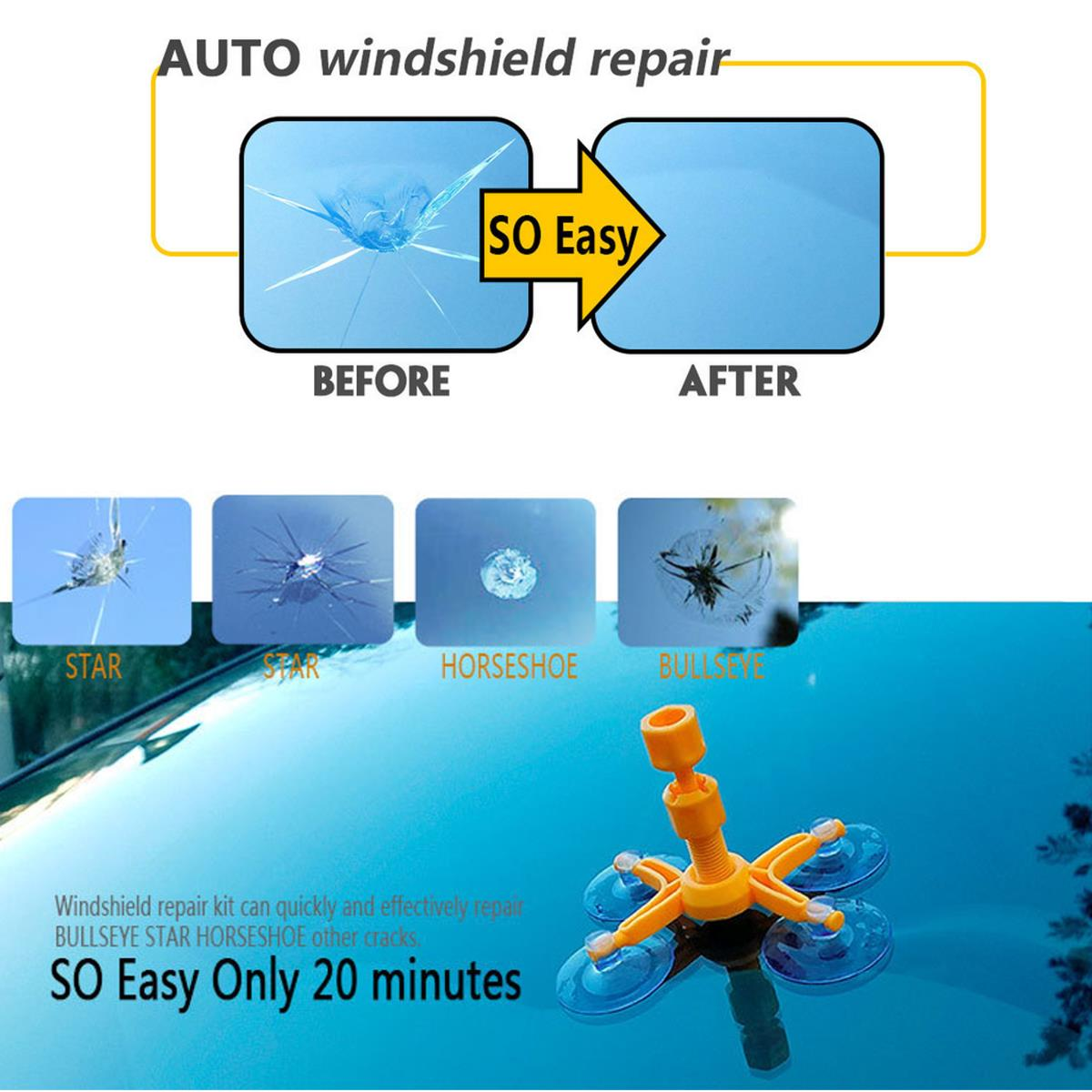 Windscreen Windshield Repair Tool Set DIY Glass Crack Care Window Polishing Kit
