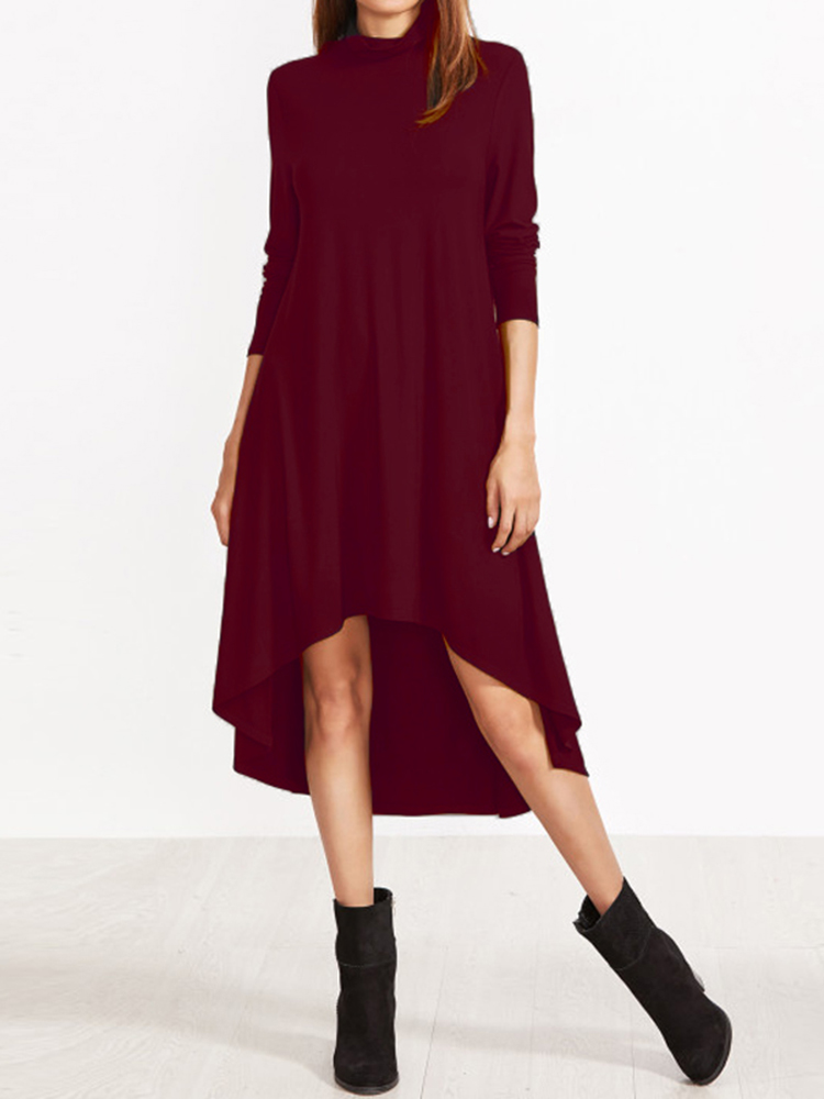 Women Turtleneck Asymmetrical High Low Hem Long Sleeve Dress