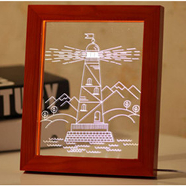 KCASA FL-733 3D Photo Frame Illuminative LED Night Light Wooden Watchtower Desktop Decorative USB Lamp for Bedroom Art Decor Christmas Gifts