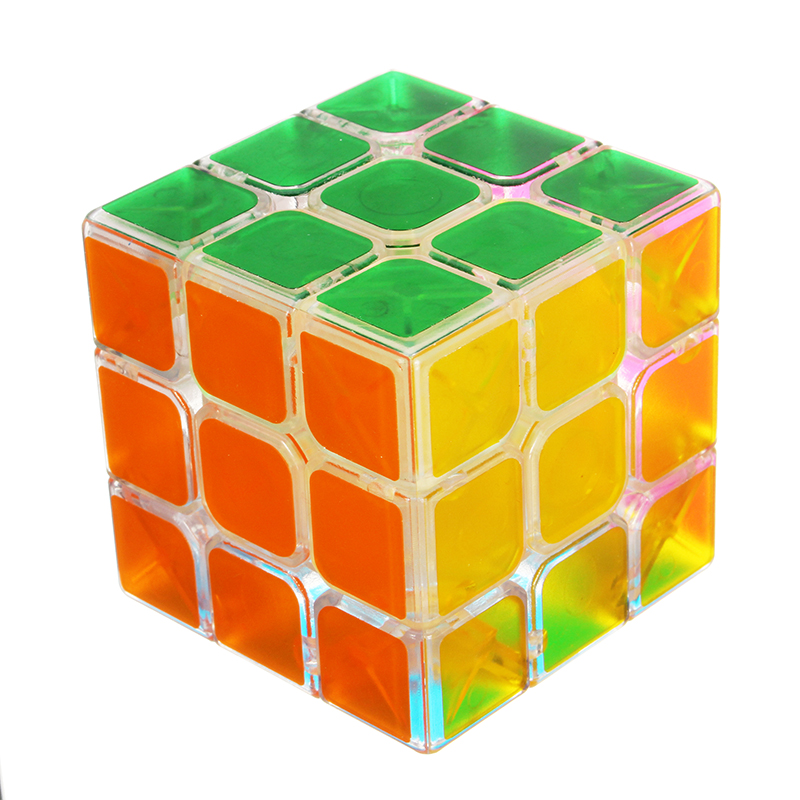Classic Magic Cube Toys 3x3x3 PVC Sticker Block Puzzle Speed Cube Pink Clear