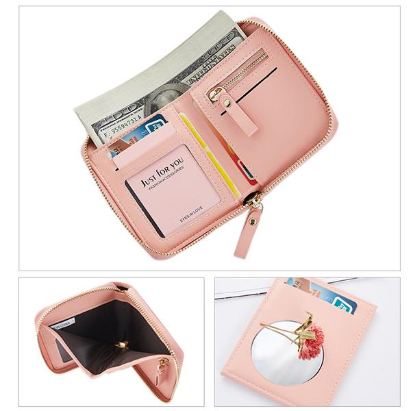 Women Bifold PU Short Wallet Mirror Solid Coin Bag