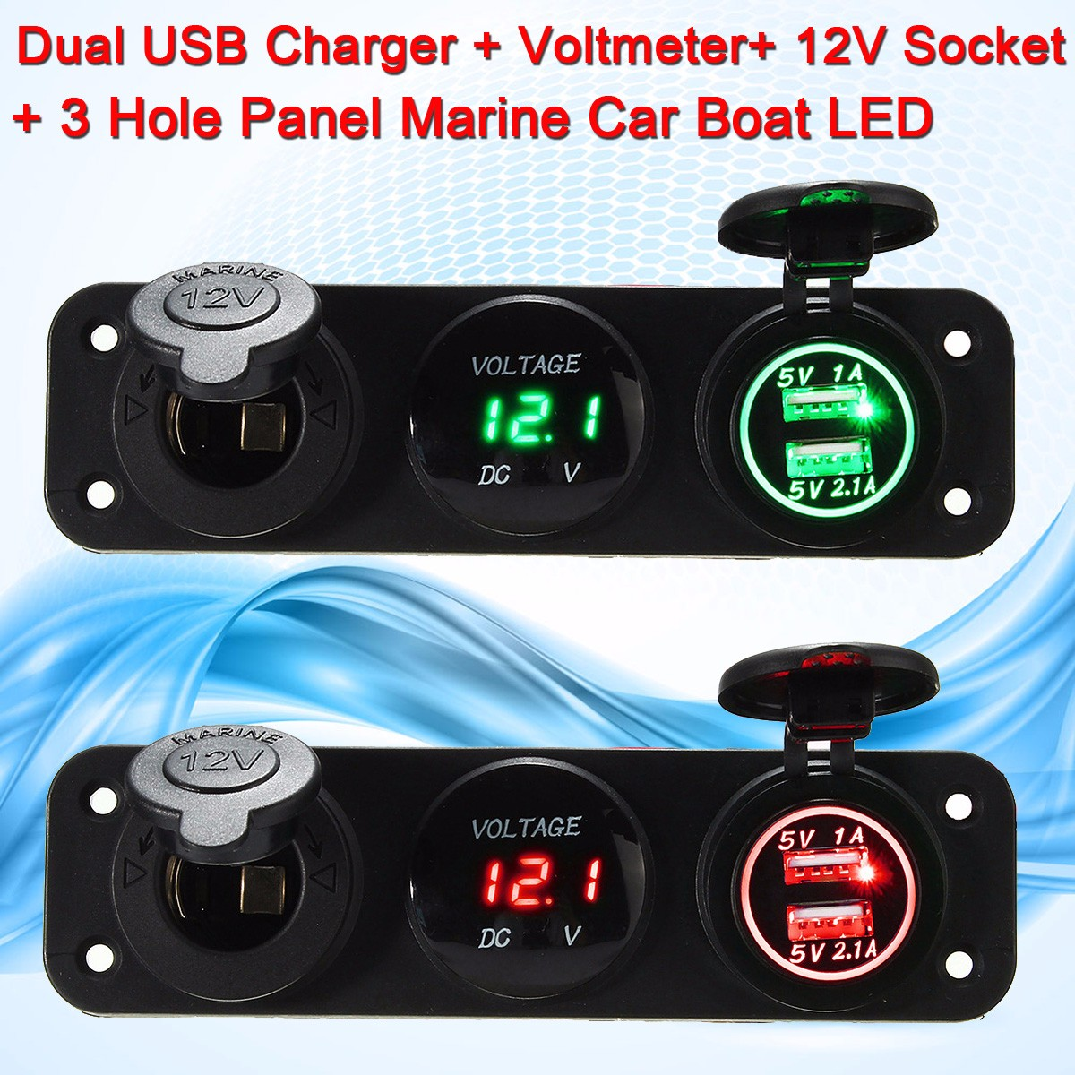 5V 3.1A LED Dual Usb Charger Volt Meterr 12V Socket 3 Hole Panel Marine Car Boat