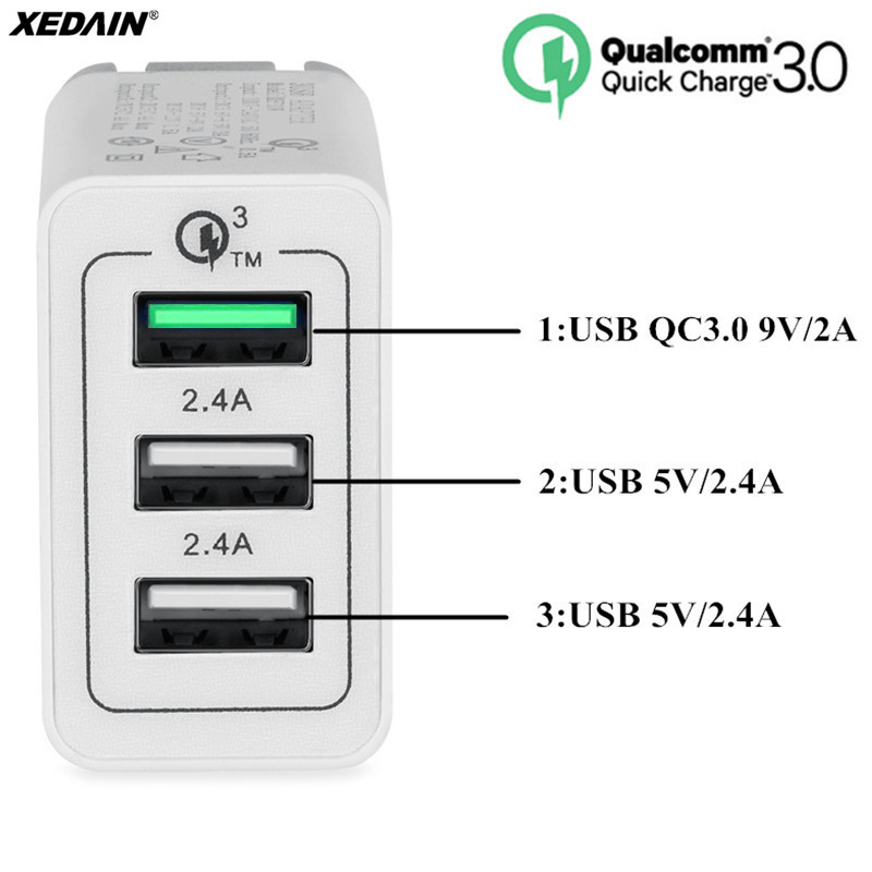 AiNaU 3 USB Ports 3A QC3.0 EU Wall Travel Charger For iphoneX 8/8Plus Samsung S8 Letv Xiaomi6 mi5 mi6