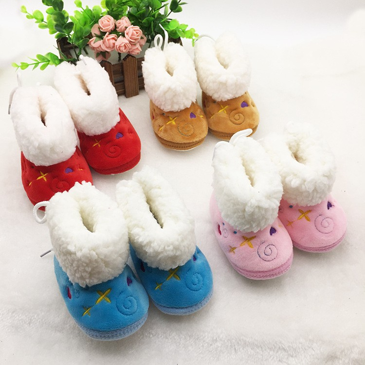 Baby Girl Warm Boots Newborn Toddler Soft Shoes Winter Anti-Slip Sole