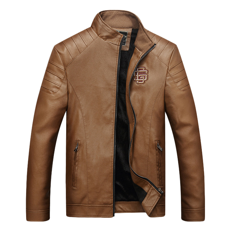 Mens Winter Warm Thick Logo Embroidery Faux Leather Jacket