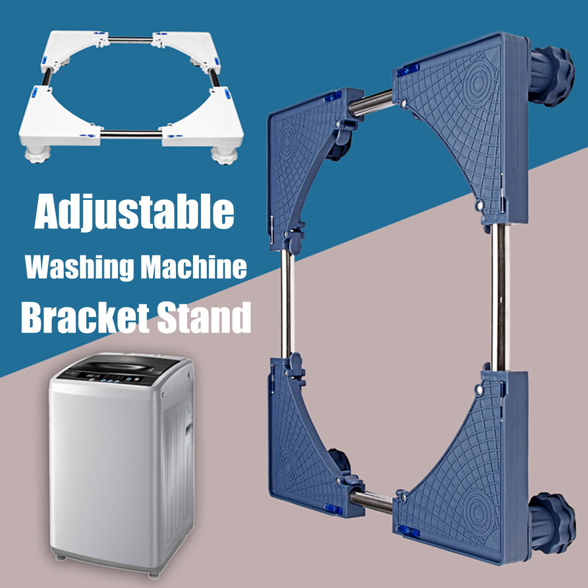 Adjustable 4 Foot Refrigerator Undercarriage Bracket Stand Washing Machine Base