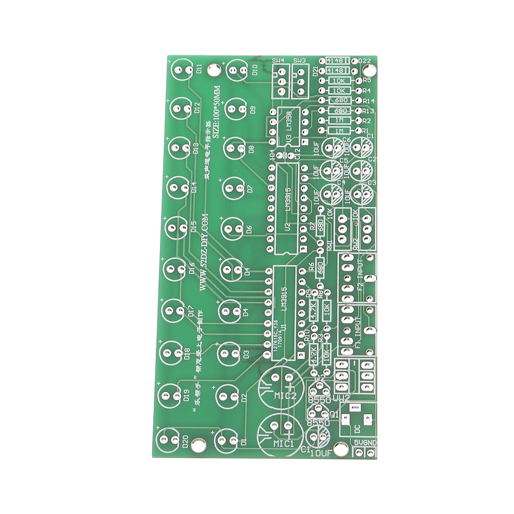Two Channel Sound Level Indicator Voice Control Audio Indicator Electronic DIY PCB Soldering Practice Kit