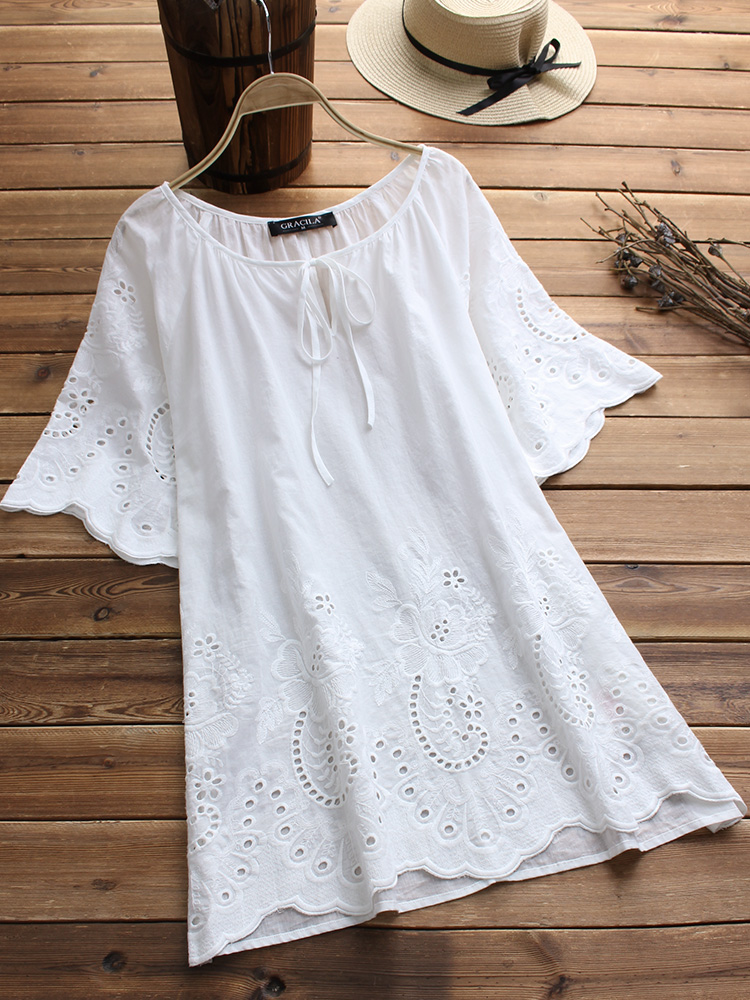 Women Half Sleeve Bandage Lace Embroidery Hollow Vintage Blouse