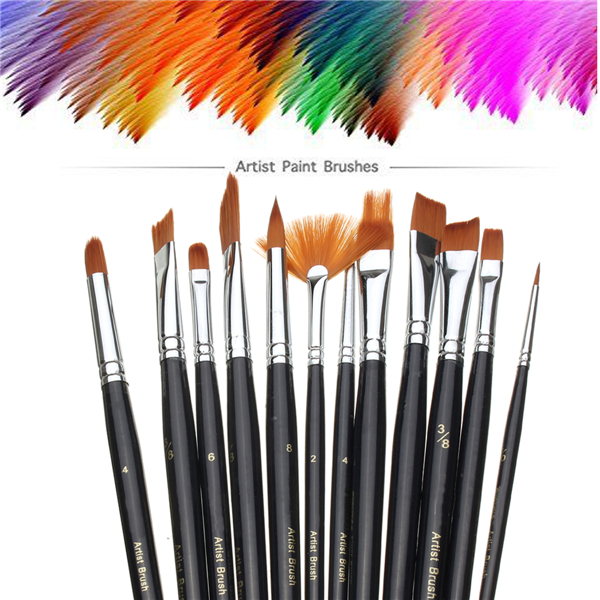 12 Pcs Artist Paint Brush Set Nylon Hair Watercolor Acrylic Oil Painting Supplies