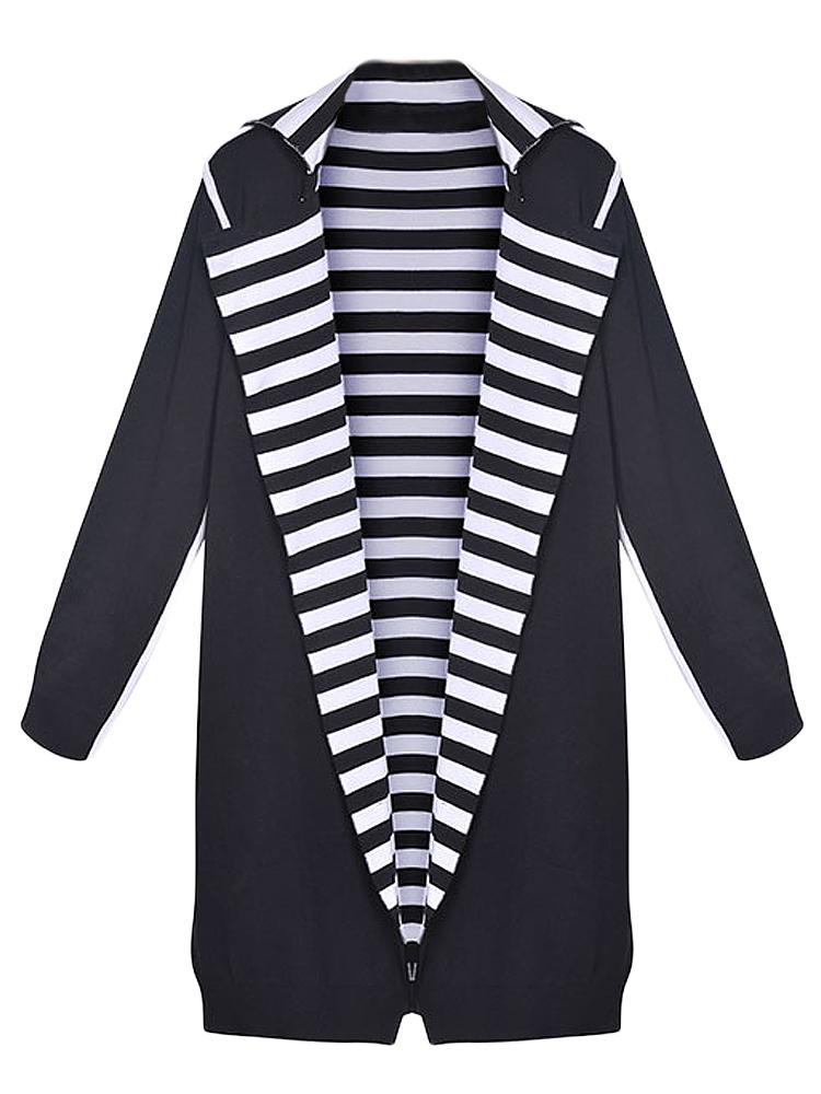 Elegant Women Stripe Patchwork Lapel Long Sleeve Knitted Cardigan