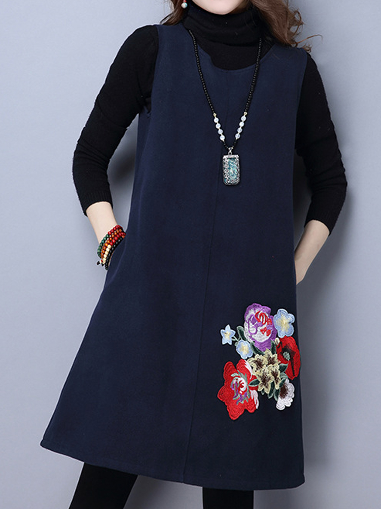 Casual Women Loose Vest O-Neck Sleeveless Embroidery Dress