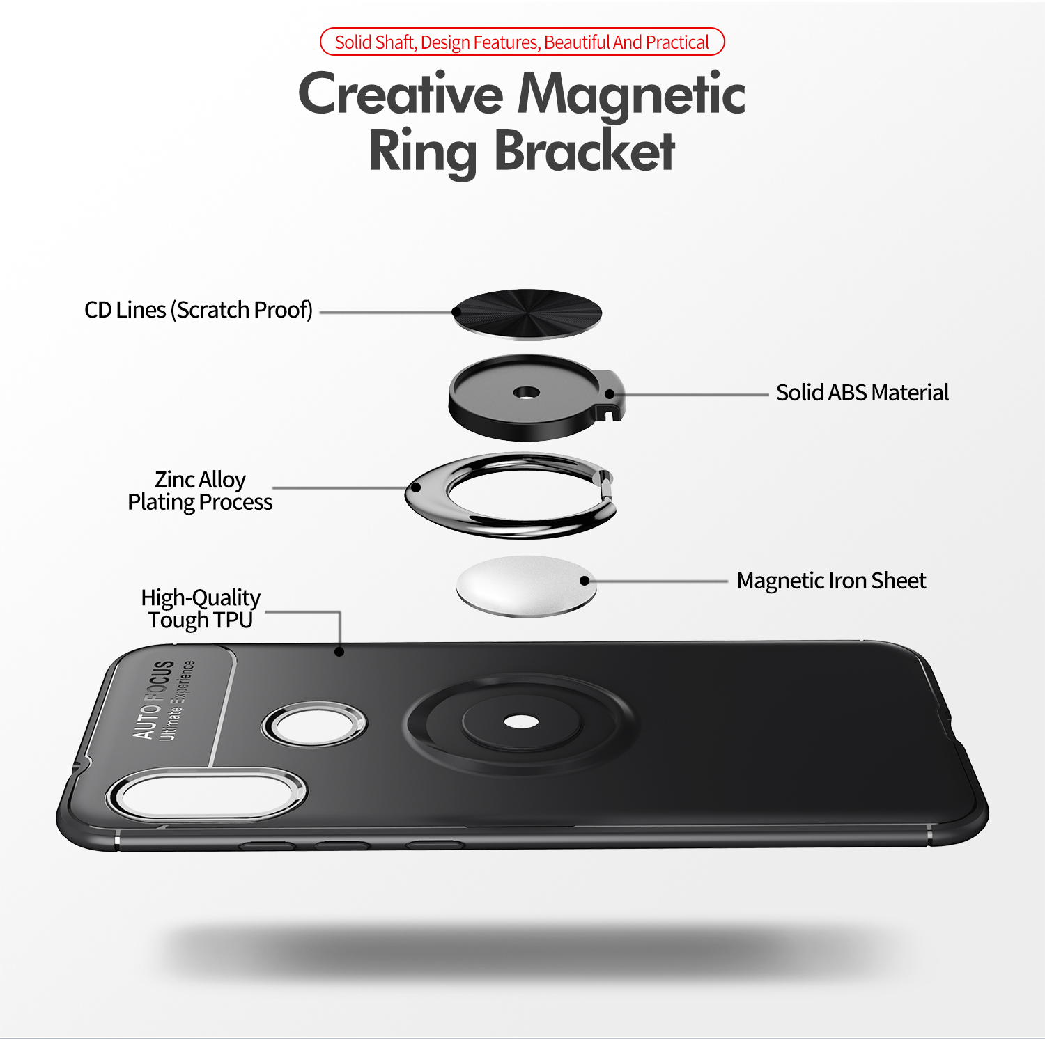 Bakeey 360° Adjustable Metal Ring Magnetic Protective Case for Xiaomi Mi A2 Lite/ Xiaomi Redmi 6 Pro