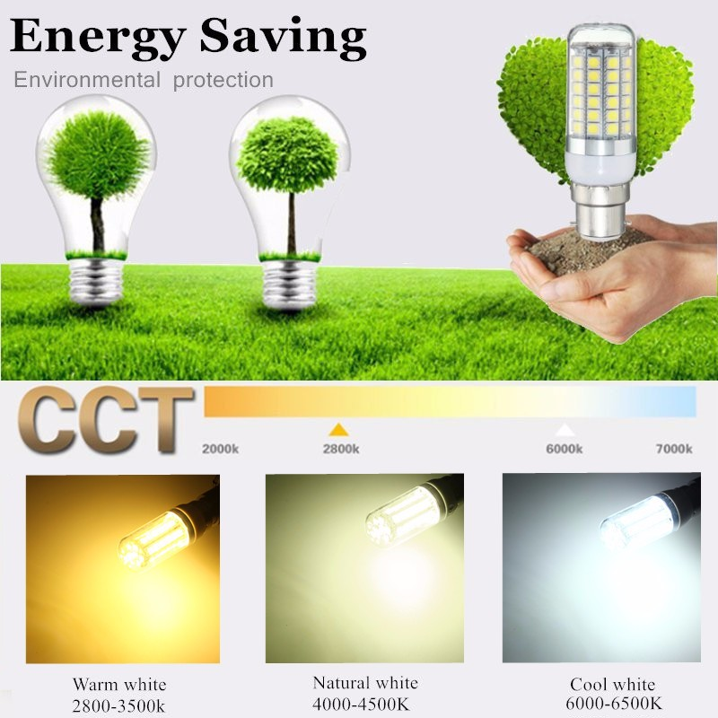 AC220V E27 E14 GU10 B22 G9 3W Warm/Cool/Natural White SMD5050 LED Corn Light Bulb for Home Decor