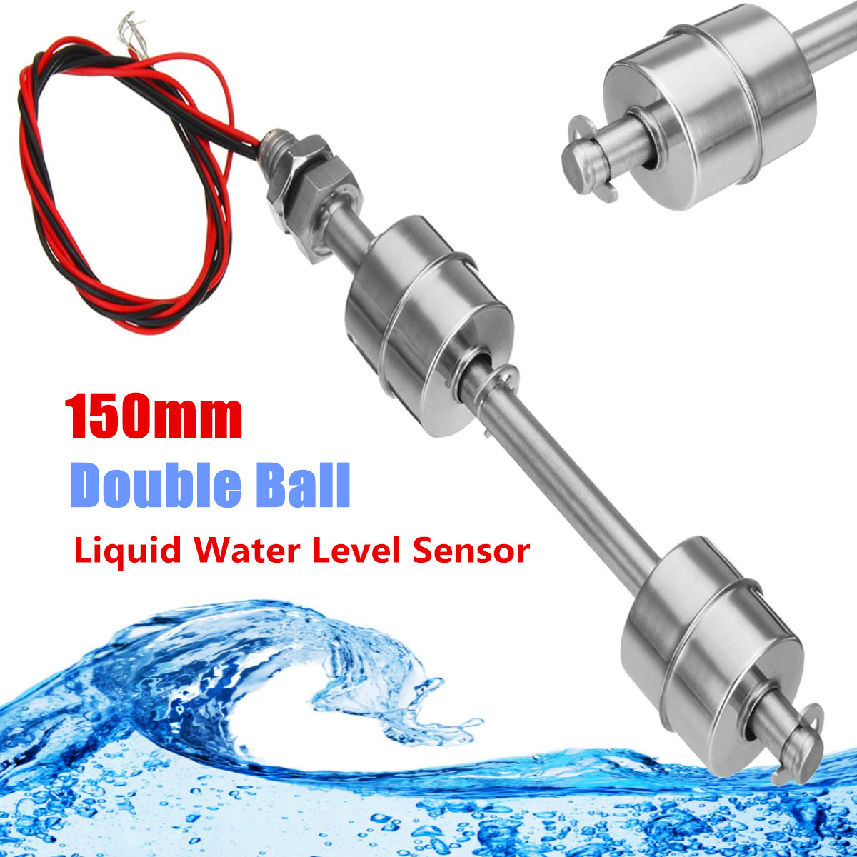Liquid Float Switch Water Level Sensor Double Ball 150mm 304 For Fish Tank Pool