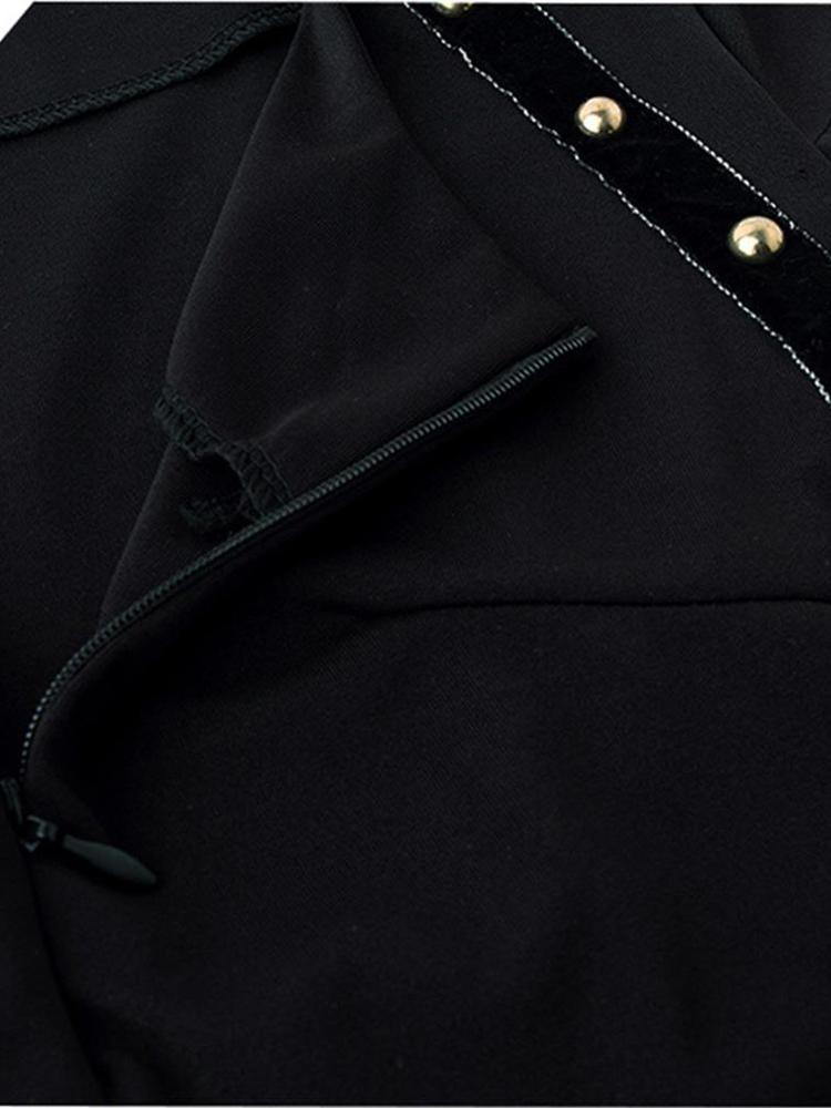 Elegant Women Rivet Zip-up Short Sleeve High-waist Dress