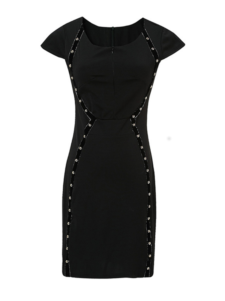 Elegant Women Rivet Zip-up Short Sleeve High-waist Dress