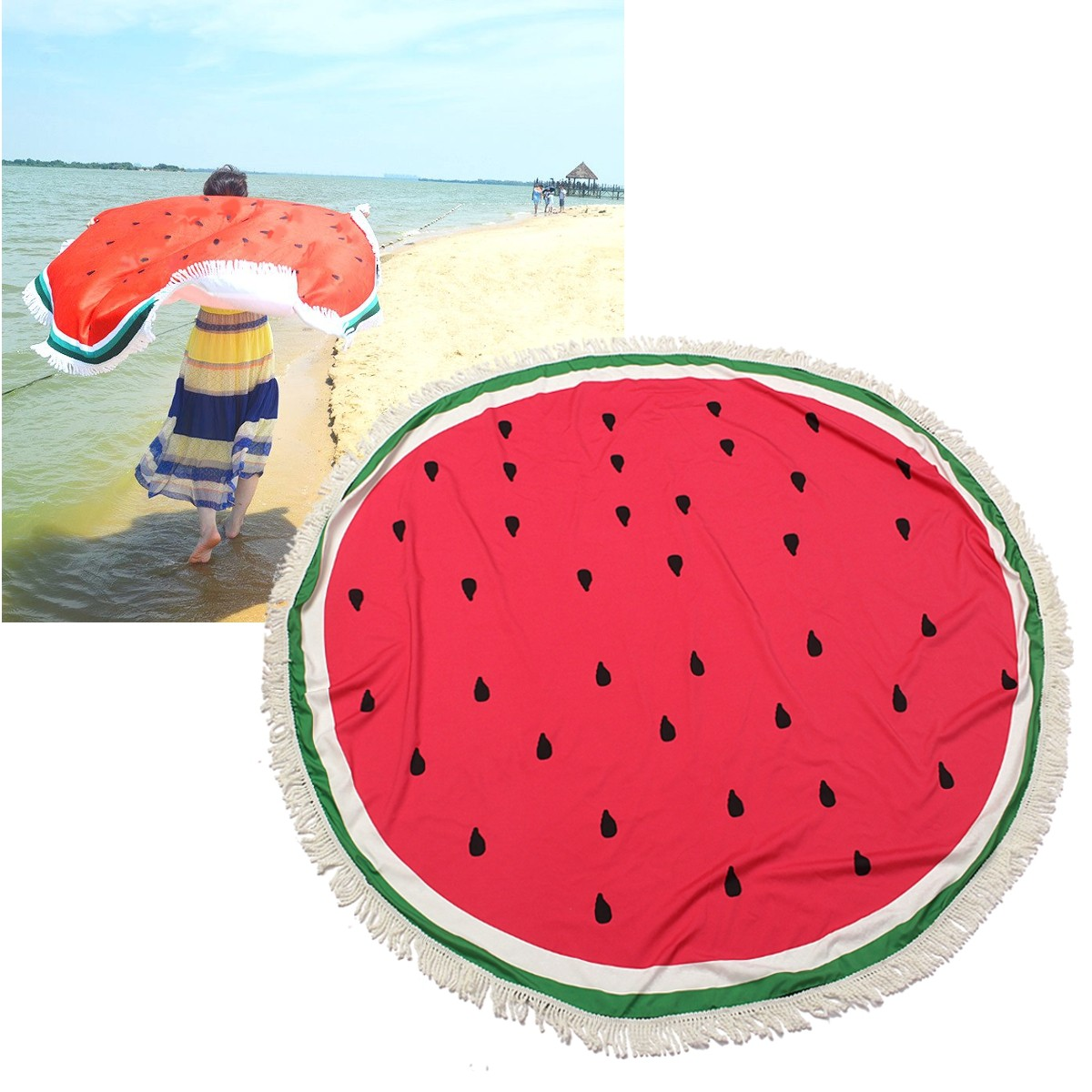 150CM Watermelon Printed Round Yoga Mat Beach Printing Throw Towel Shawl Wall Hanging Tapestry