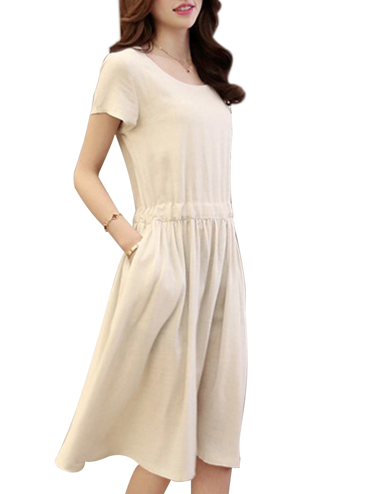 Vintage Women Short Sleeve Pleated Button Pocket Dresses