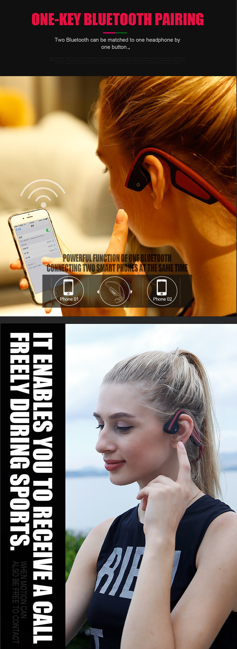 S.Wear LF-19 Bone Conduction Outdoor Sweat-proof Light Weight bluetooth Earphone Headset for Phone