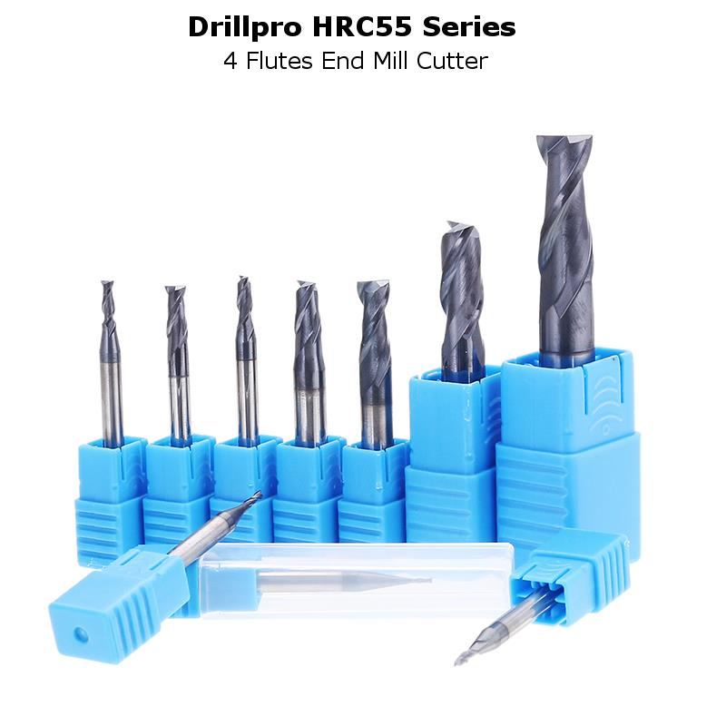 Drillpro 1-10mm HRC55 TiAlN 2 Flutes End Mill Cutter Tungsten Carbide Milling Cutter CNC Tool