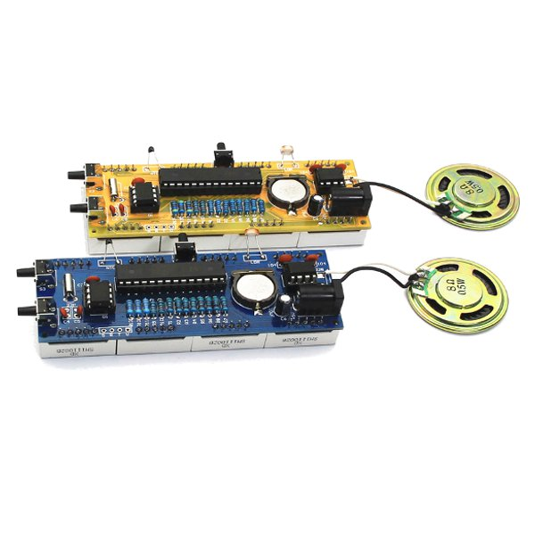 YD-030 5V Voice Version DIY Electronic Clock Kit 51 SCM Digital LED Clock Set With Acrylic Shell Light Control Temperature Display Temperature Correction Voice Chime On Every Hour Alarm Clock Function