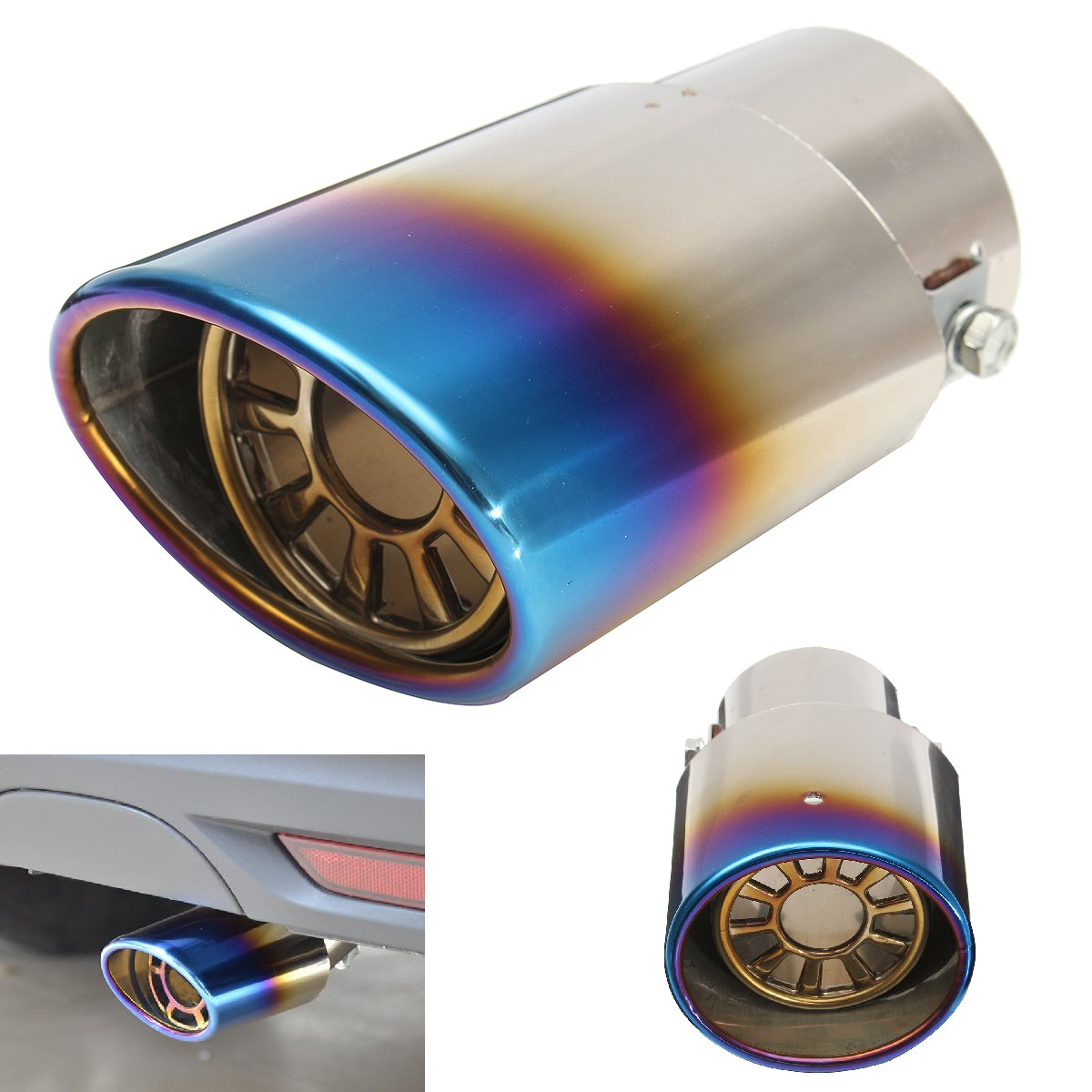 Grilled Blue 6.3cm Stainless Steel Chrome Exhaust Muffler Tip Pipe For All Car Caliber