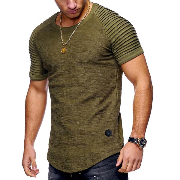 Camisetasocasionalesrespirablesdelamanga corta del algodón Delgado de los hombres