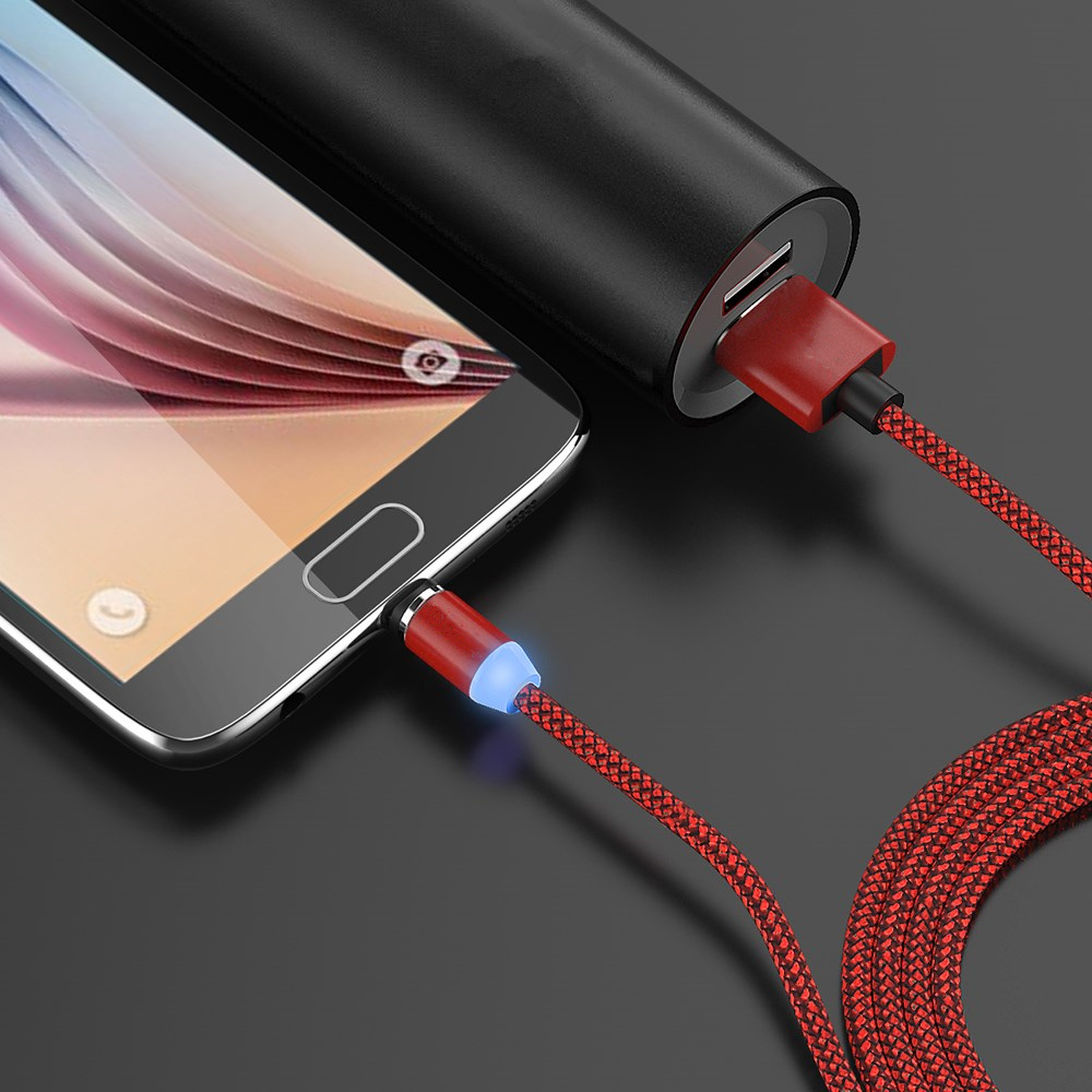 Bakeey 360 Degree Magnetic LED Type-C Braided Data Charging Cable for Samsung S8 Note 8 S9 Xiaomi