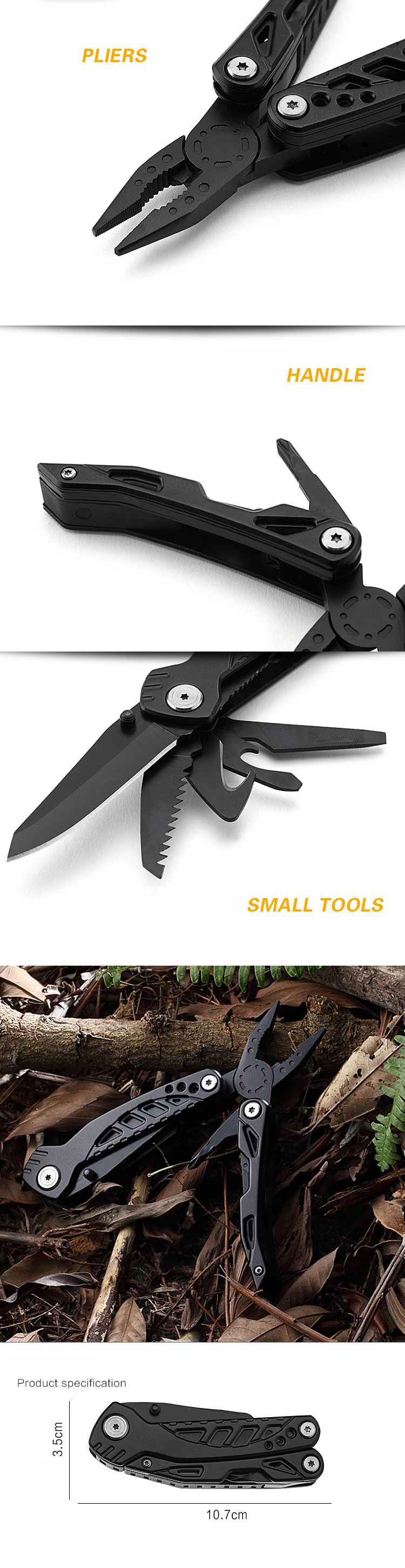 IPRee® 155mm High-carbon Steel Multi-function Folding Knife Portable Tool Pliers EDC Survival Tools