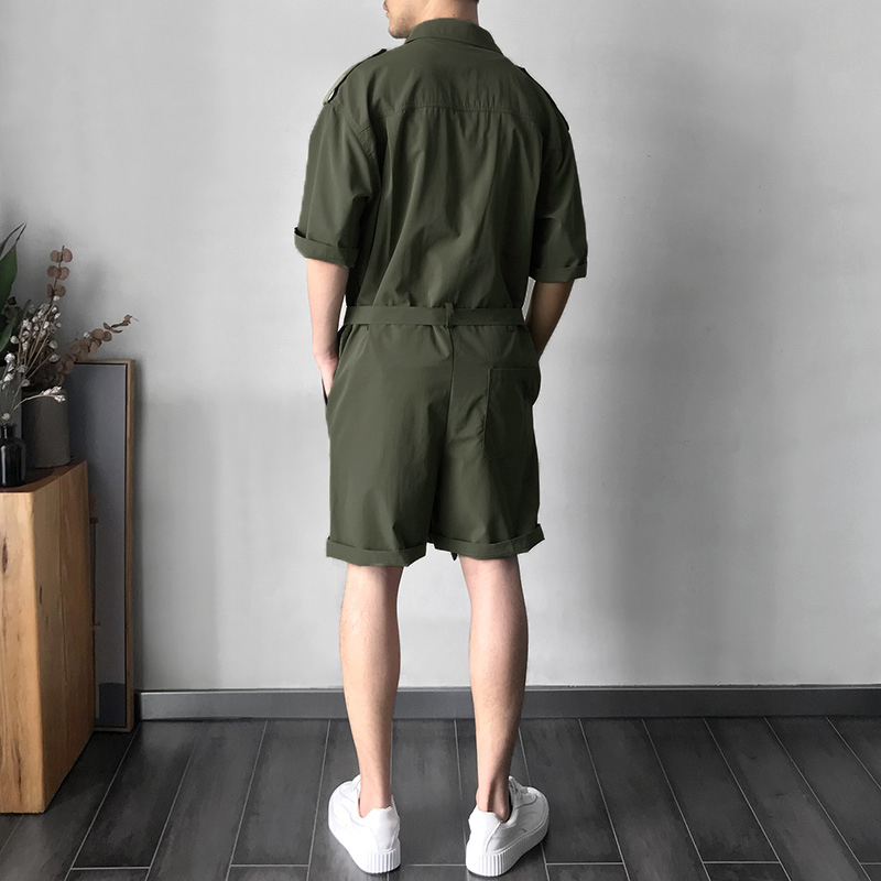 Mens Military Style Pockets Workwear Rompers Belt Overalls
