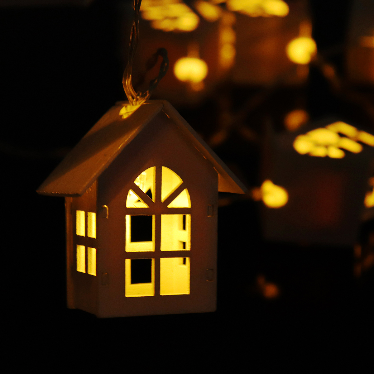 2M Battery Powered Wooden House Style Fairy String Light 10 LED Festival Christmas Indoor Decor