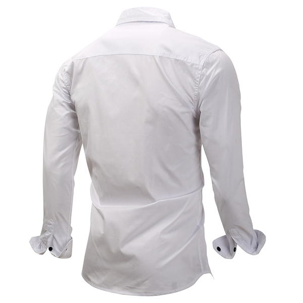 Mens Cotton Casual Pure Color Double Pocket Casual Shirt
