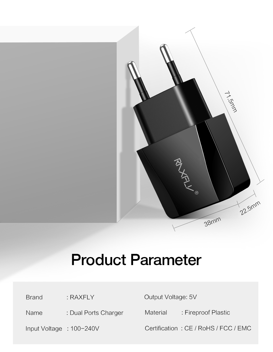 RAXFLY 2.1A Dual USB Ports EU Plug Fast Travel Wall USB Charger For Smart Phone Tablet Camera MP4
