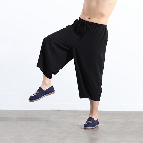 Charmkpr Mens Cotton Wide Leg Loose Calf-Length Pants