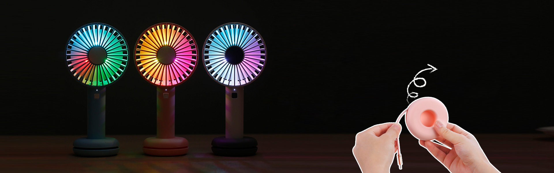 Loskii HF-202 Portable Desktop Handheld Doughnut Design Base LED Night Light USB Rechargeable 3 Grade Adjustment Fan