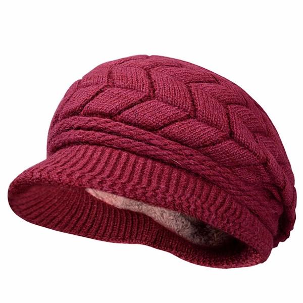 Women Ladies Crochet Knitted Cotton Blend Beret Hat Soft Warm Plush Linen Ski Baseball Cap