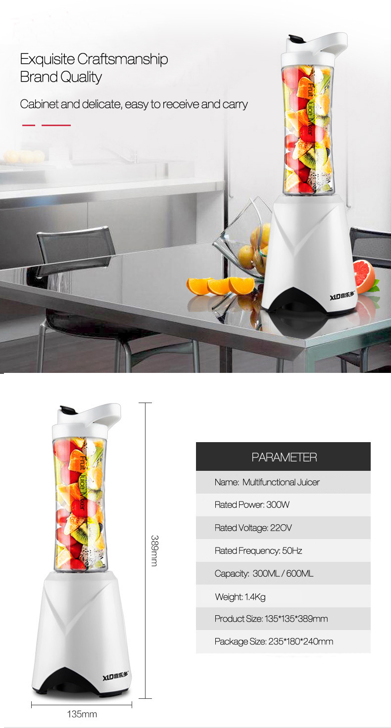 XLD Blender Juicer Smoothies Maker For Chopping Mixing & Mincing Kitchen Appliances With 2 Portable Travel Bottle