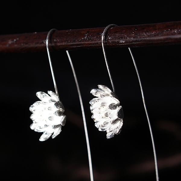 S925 Vintage Sterling Silver Lotus Women Earrings