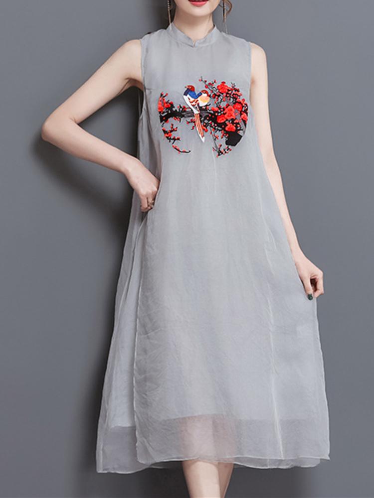 Vintage Gray Sleeveless Embroidery Women Mid Long Dresses