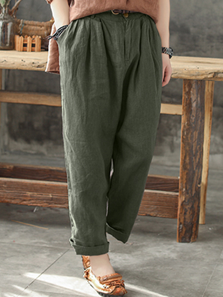 Women Cotton Pockets Elastic Waist Solid Pants