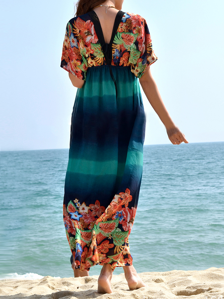 Sexy Women V Neck Flower Printed Contrast Color Chiffon Maxi Dress