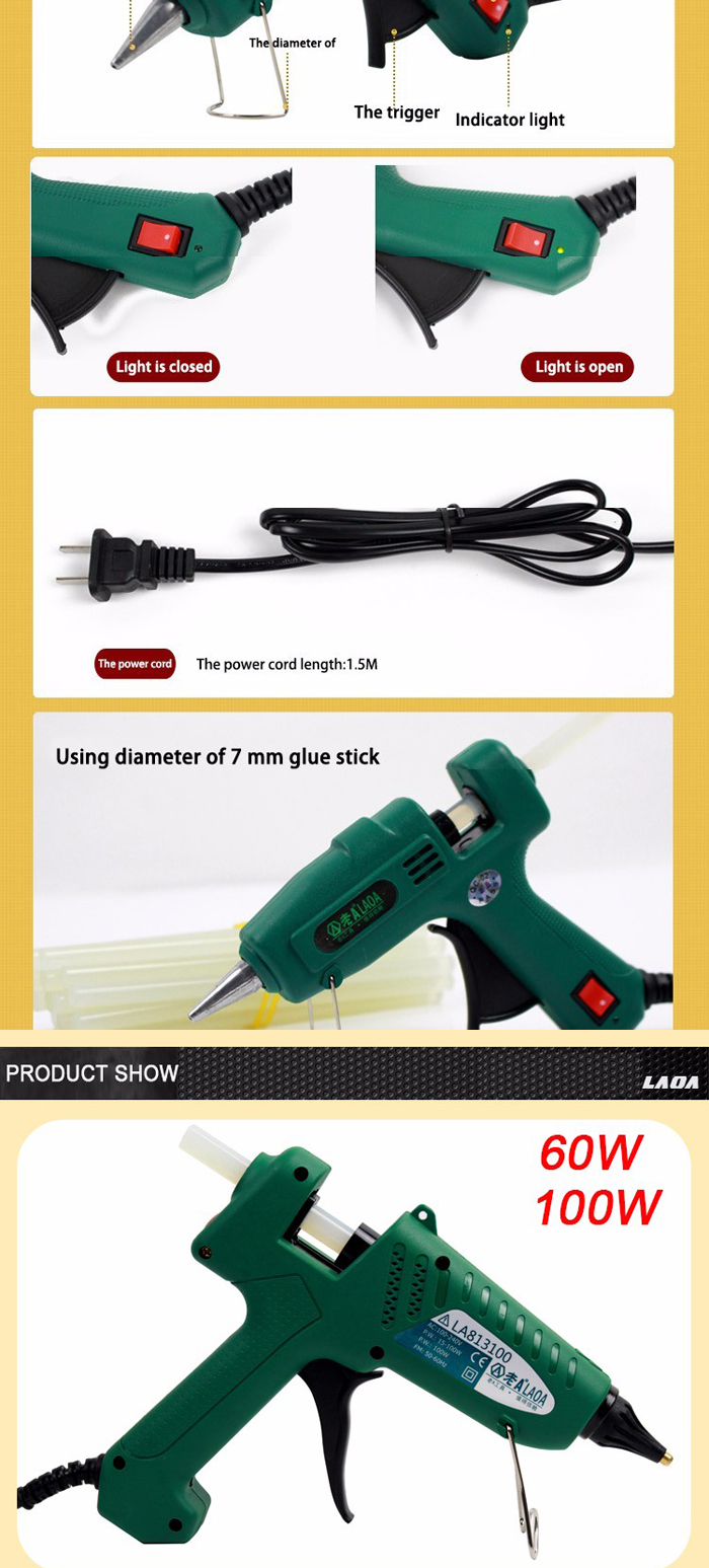 LAOA 25W/60W/100W/150W Professional Hot Melt Glue Gun Repair Tools for Metal Wood Working Stick Paper Hairpin PU Flower