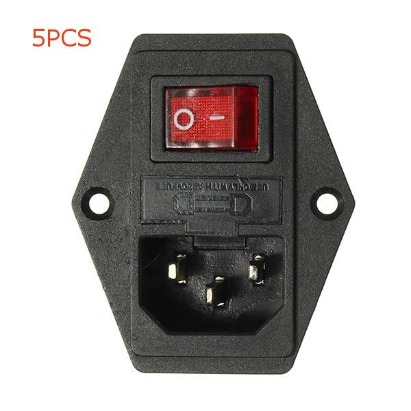 5PCS 220V/110V 5A Power Outlet Socket With Switch And 6A Fuse For 3D Printer