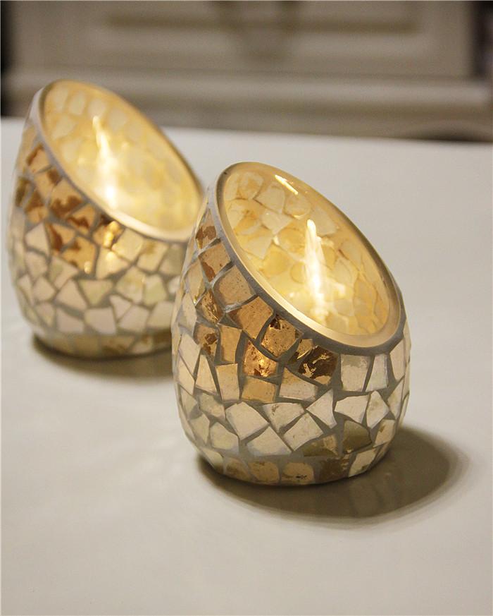 Handicraft Mosaic Glass Candle Stick Apricot Bevel Candle Holder Candelabra Home Wedding Decor