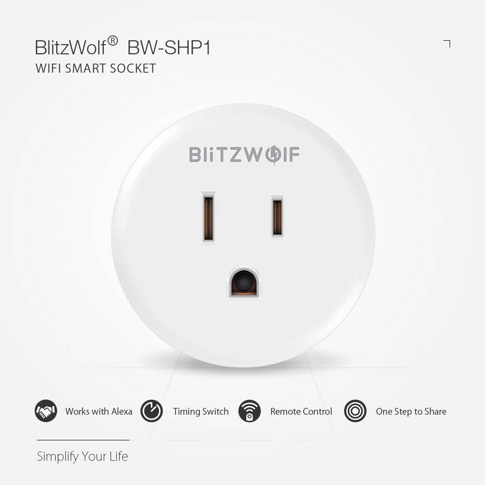 BlitzWolf® BW-SHP1 WIFI Smart Socket US Plug Work with Alexa Google Assistant Remote Control Smart Home Timing Switch